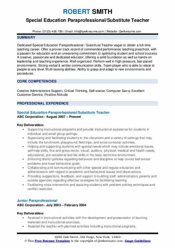 Special Education Paraprofessional/Substitute Teacher Resume Model