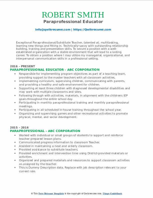 Paraprofessional Educator Resume Template