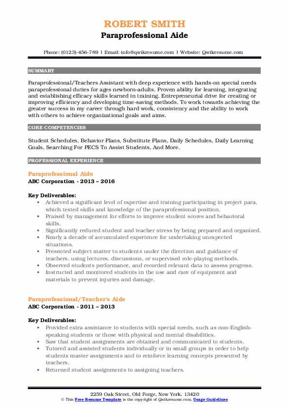 Paraprofessional Aide Resume Format