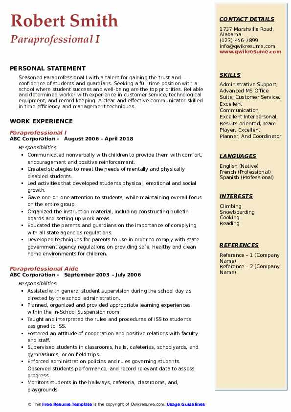 Paraprofessional I Resume Template