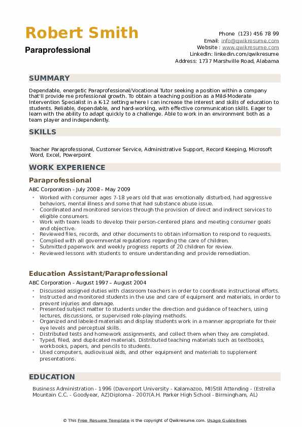 Paraprofessional Resume example
