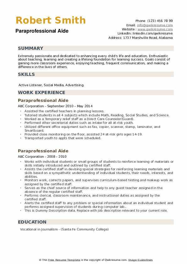Paraprofessional Aide Resume example