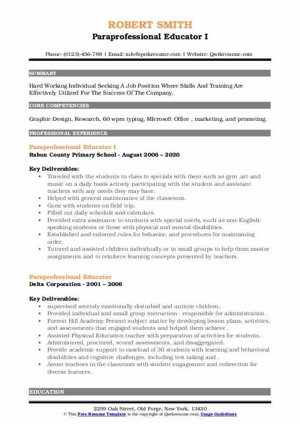 paraprofessional educator resume samples  qwikresume