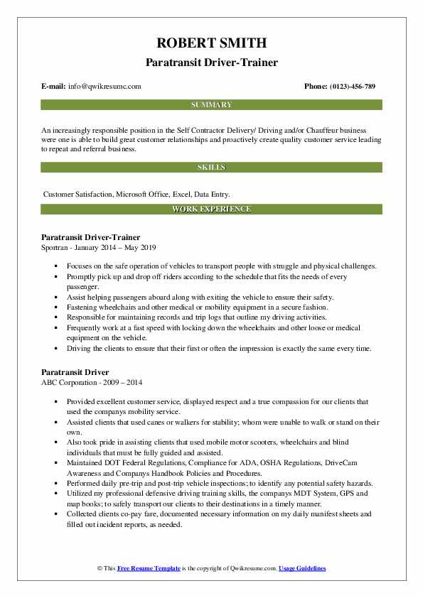Paratransit Driver-Trainer Resume Template
