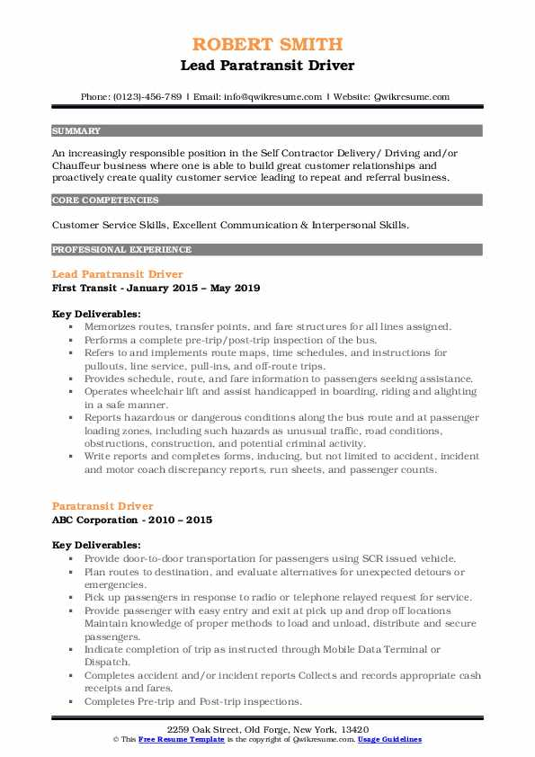 Lead Paratransit Driver Resume Model