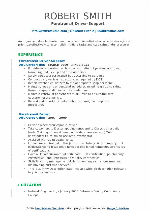 Paratransit Driver-Support Resume Sample