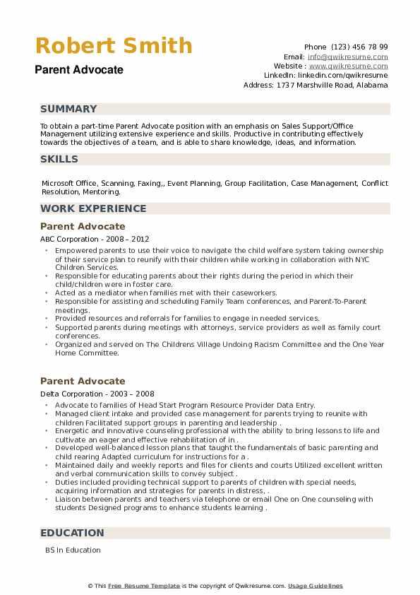 Parent Advocate Resume example