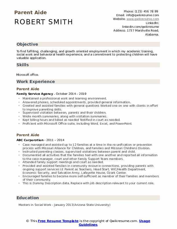 Parent Aide Resume example
