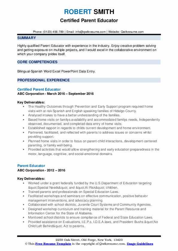 Certified Parent Educator Resume Example