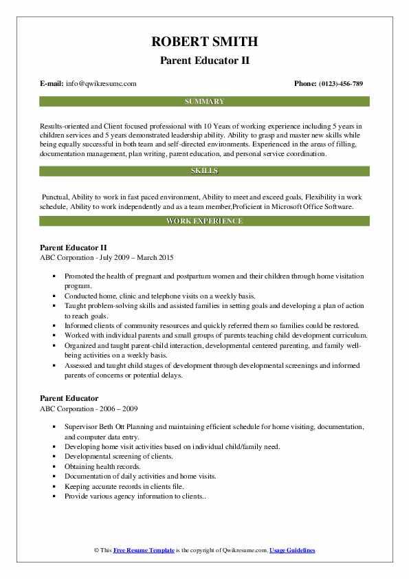Parent Educator II Resume Model