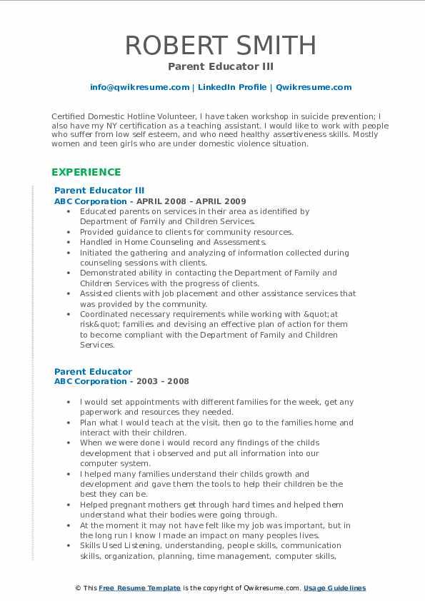 Parent Educator III Resume Format