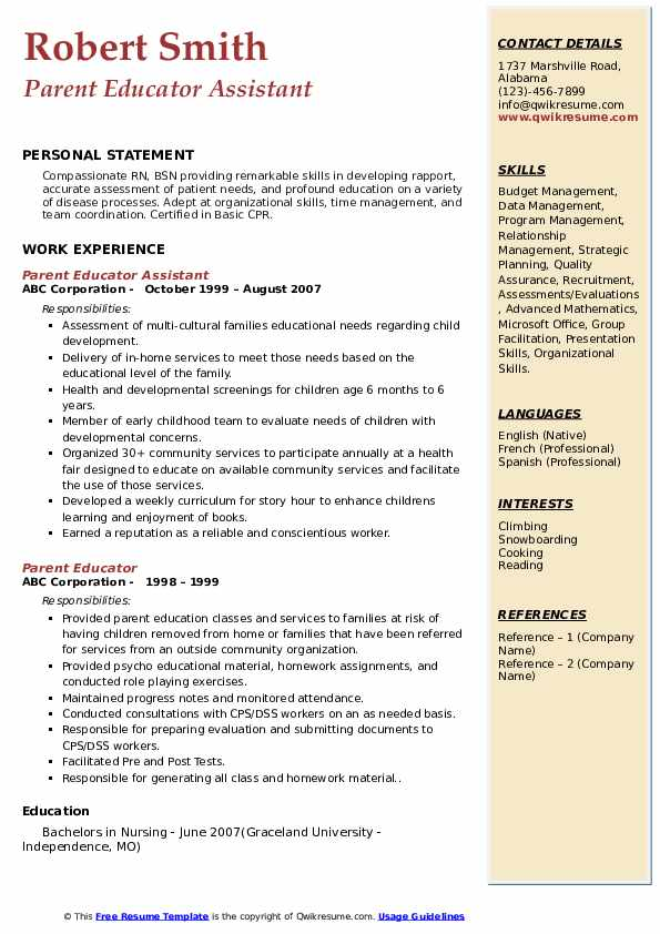Parent Educator Assistant Resume Model