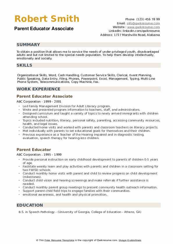 Parent Educator Associate Resume Template