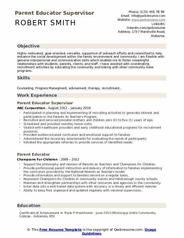 Parent Educator Supervisor Resume Format