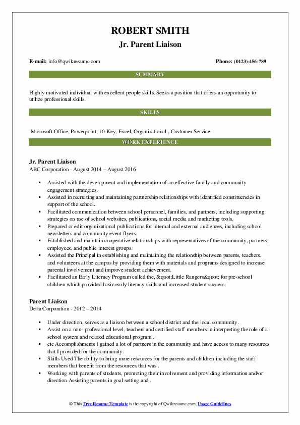 Parent Liaison Resume Samples Qwikresume