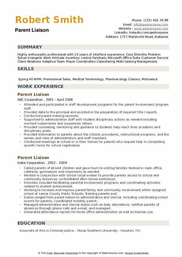 Parent Liaison Resume example
