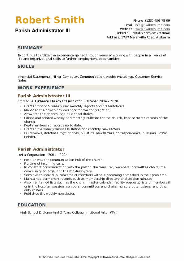 Parish Administrator Resume example