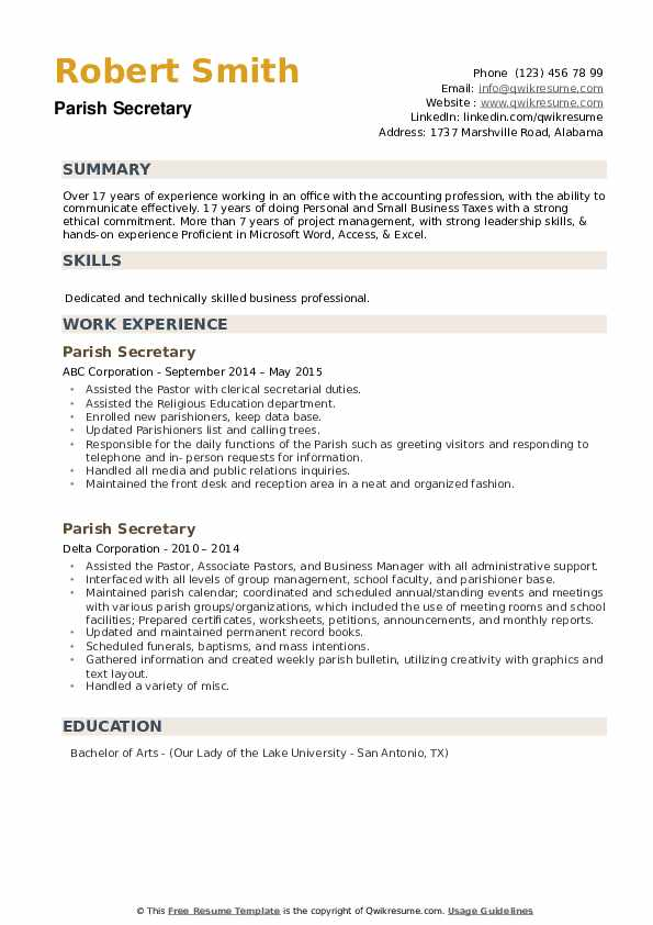 Parish Secretary Resume example