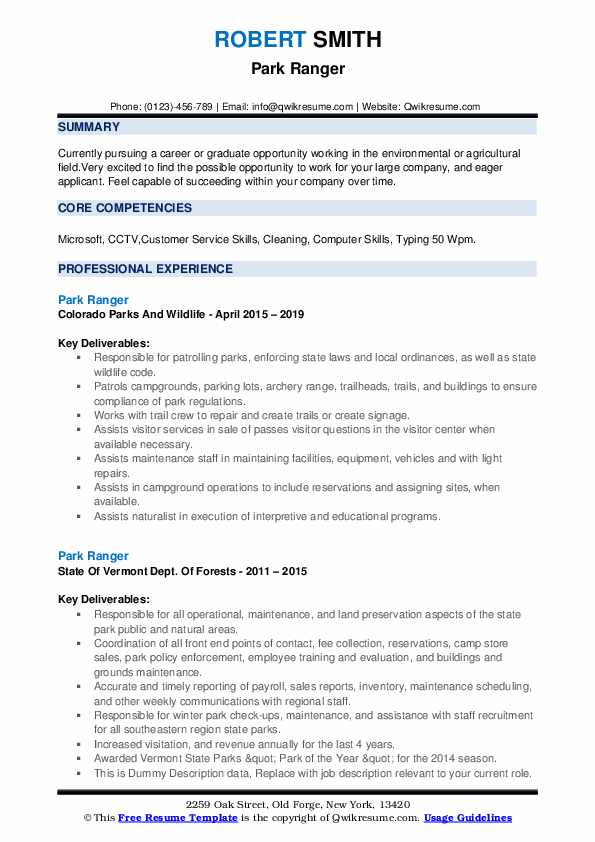 Park Ranger Resume example
