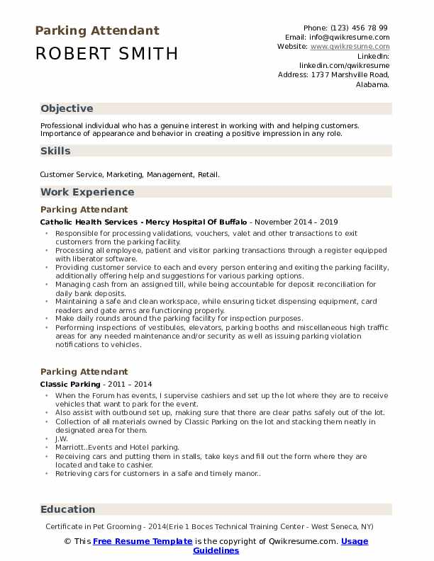 Parking Attendant Resume Template