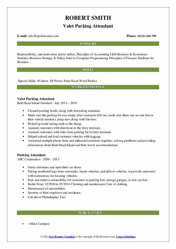 Valet Parking Attendant Resume Example