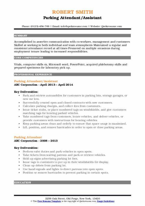 Parking Attendant/Assistant Resume Model