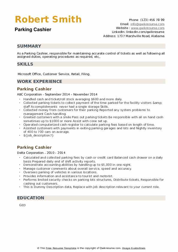 Parking Cashier Resume example