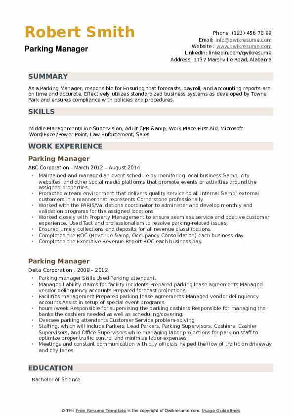 Parking Manager Resume example