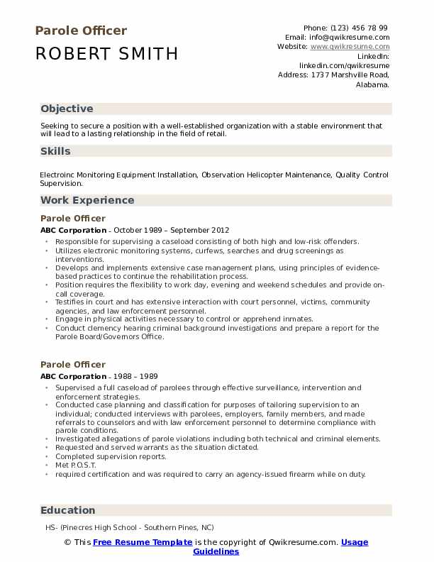 Parole Officer Resume Format