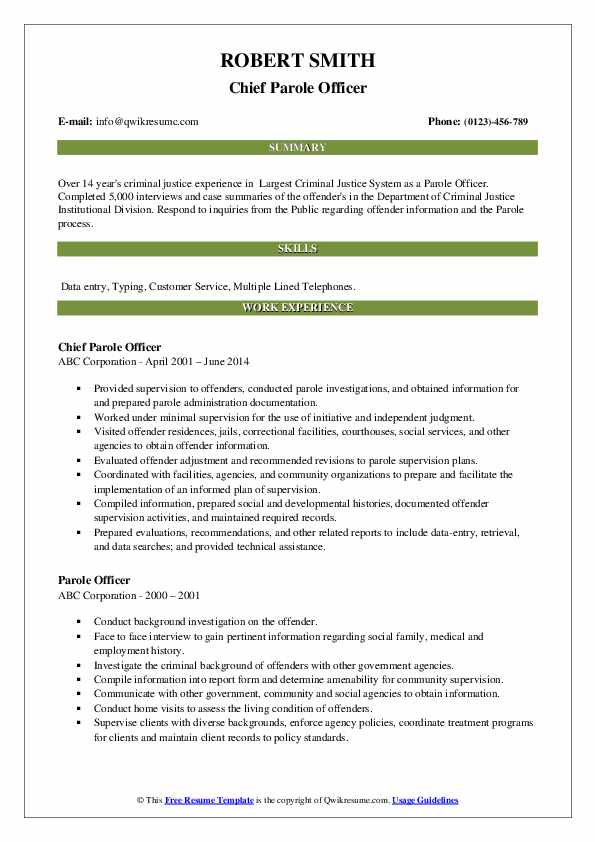 Chief Parole Officer Resume Format