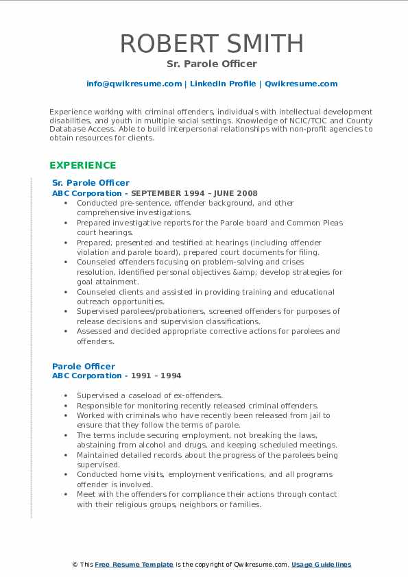 Sr. Parole Officer Resume Format