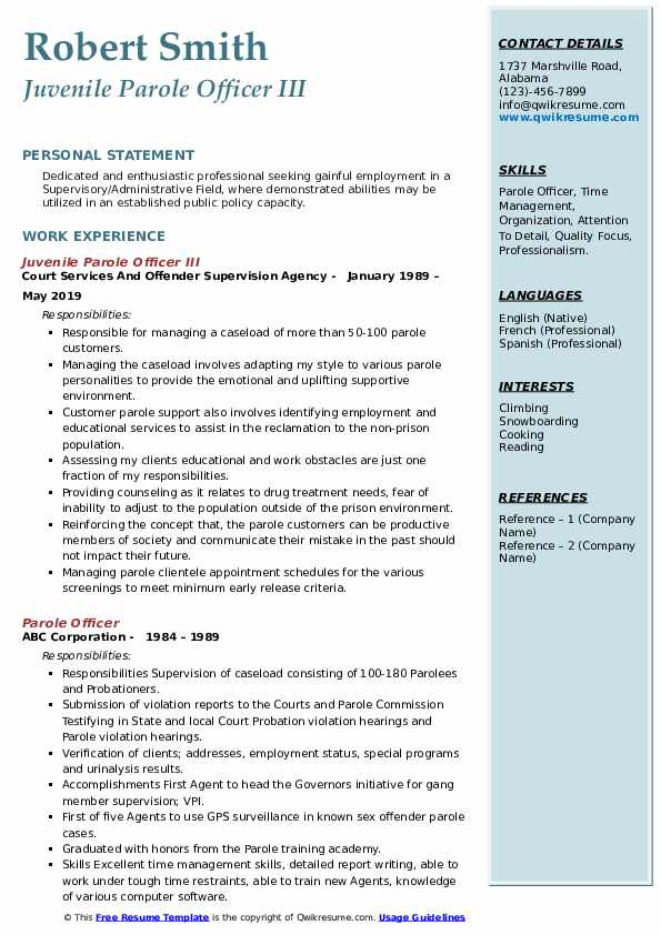Juvenile Parole Officer III Resume Example