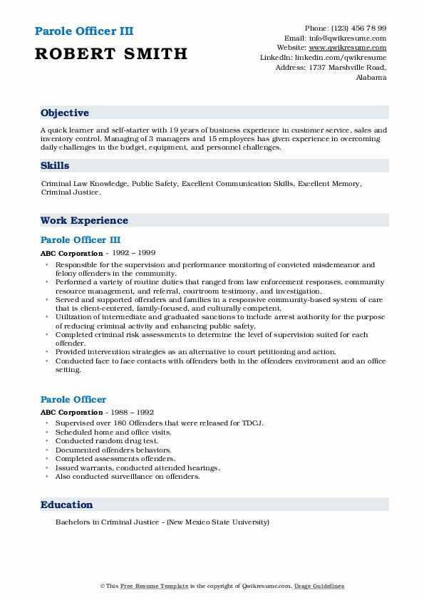Parole Officer III Resume Template