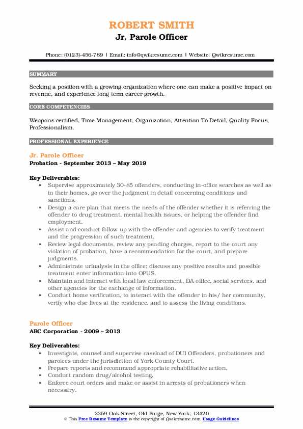 Jr. Parole Officer Resume Sample