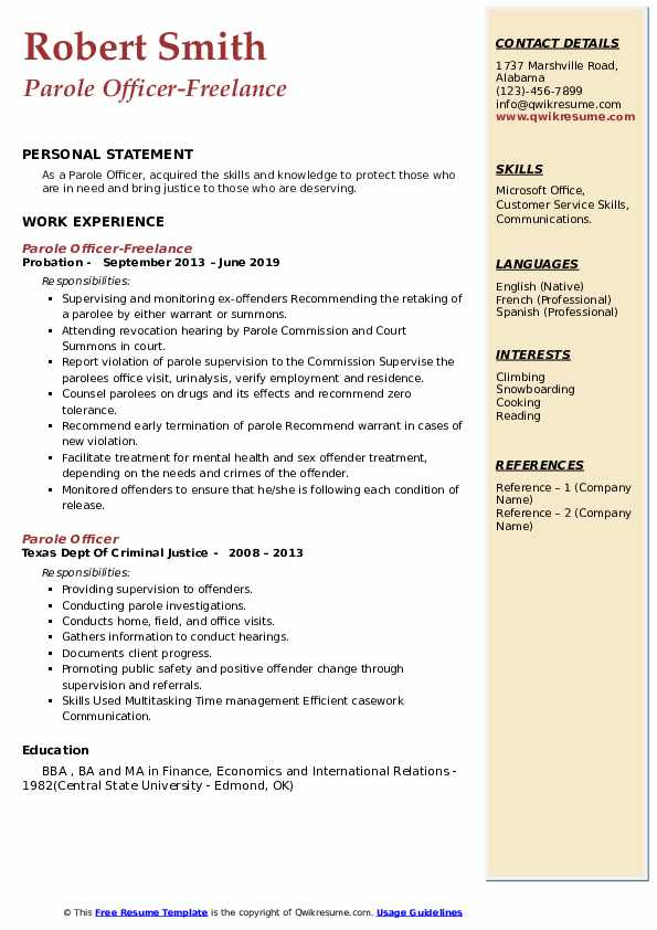 Parole Officer-Freelance Resume Template