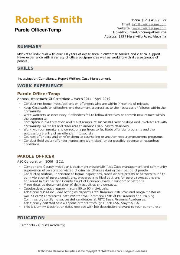Parole Officer-Temp Resume Sample