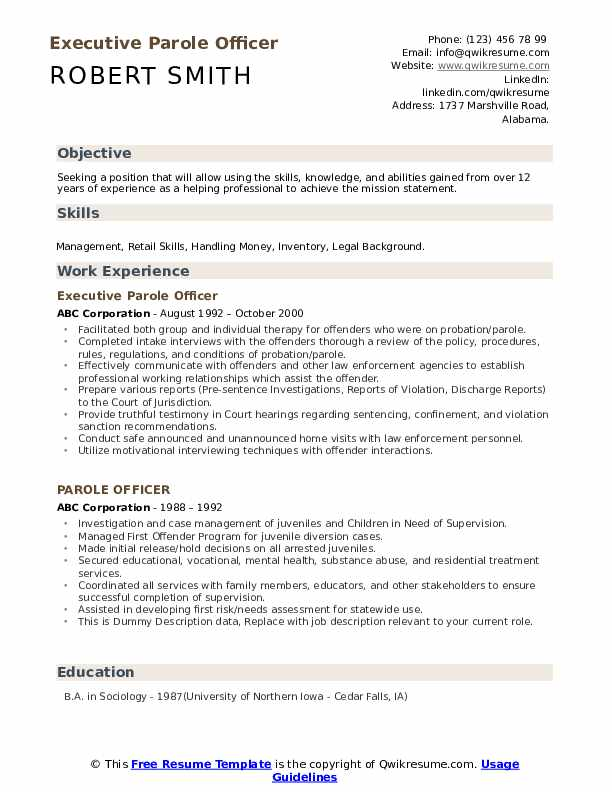 Executive Parole Officer Resume Sample