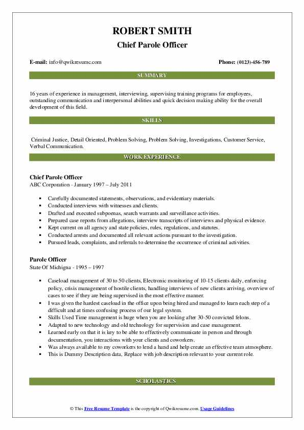 Chief Parole Officer Resume Sample
