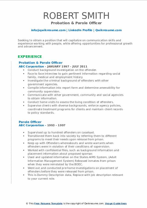 Probation & Parole Officer Resume Example