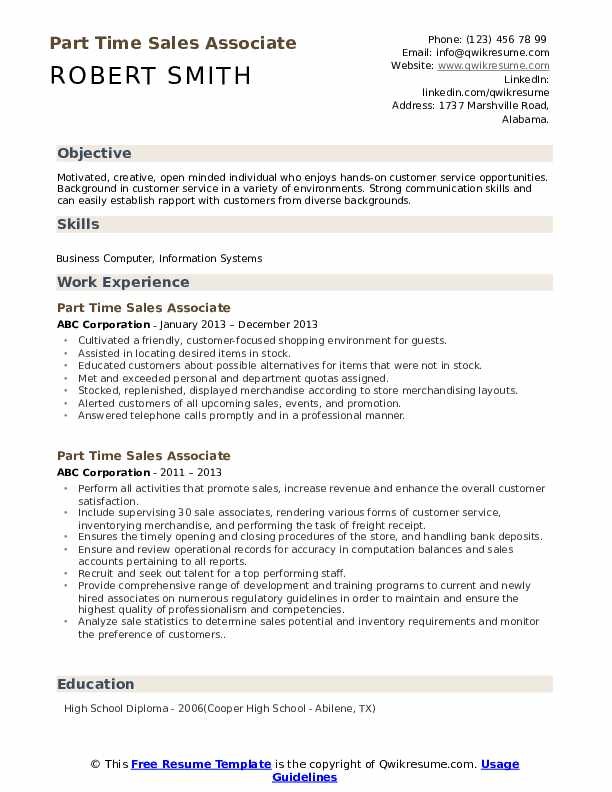 Part Time Sales Associate Resume Model