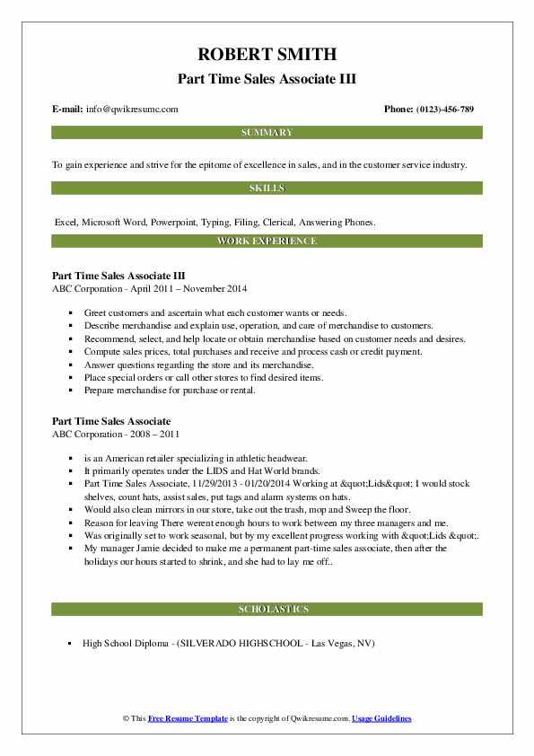 Part Time Sales Associate III Resume Example