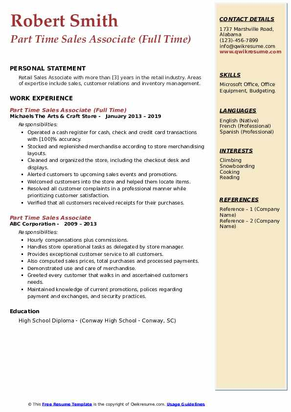 Part Time Sales Associate (Full Time) Resume Format