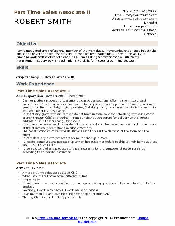 Part Time Sales Associate II Resume Sample