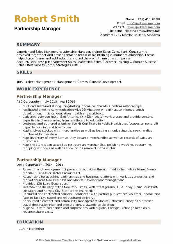 Partnership Manager Resume example