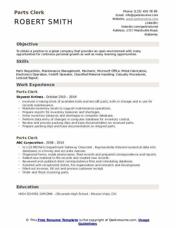 Parts Clerk Resume example
