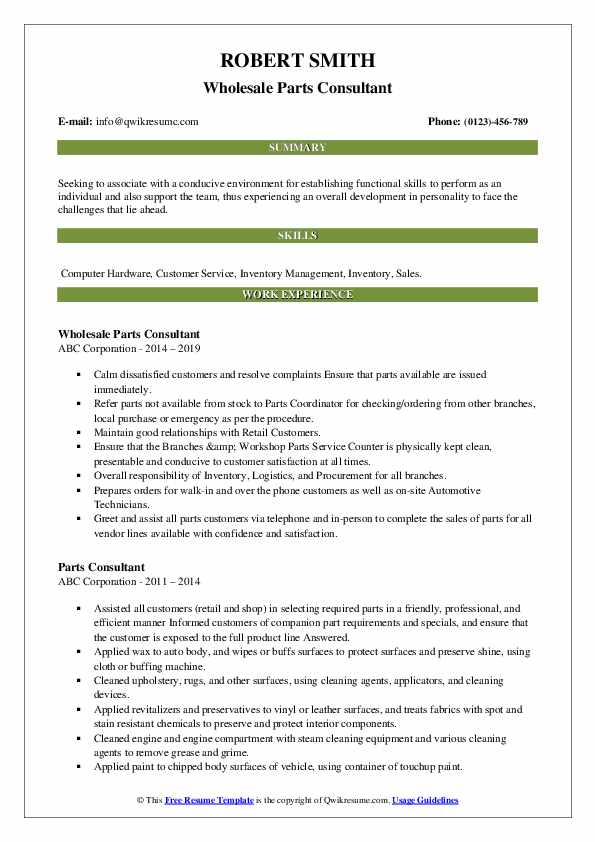Wholesale Parts Consultant Resume Example