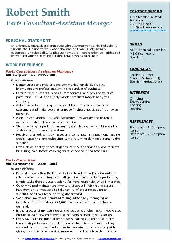 Parts Consultant-Assistant Manager Resume Sample