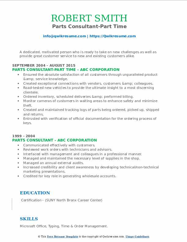Parts Consultant-Part Time Resume Format