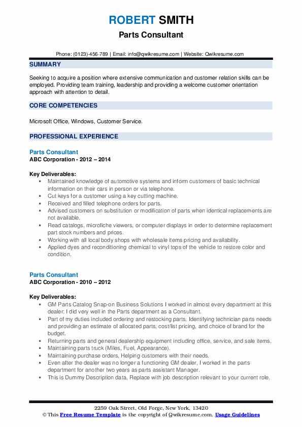 Parts Consultant Resume example