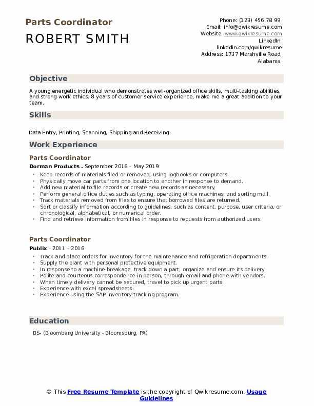 Parts Coordinator Resume Sample